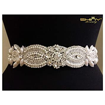 ebf2e9d4d3 Wedding Belt Applique Bridal Belt, Sash Belt Applique, Crystal Rhinestone &  Off White Pearls