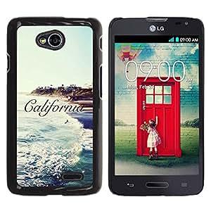 Be Good Phone Accessory // Dura Cáscara cubierta Protectora Caso Carcasa Funda de Protección para LG Optimus L70 / LS620 / D325 / MS323 // Ca Sun Sea Surf Waves Sky Blue