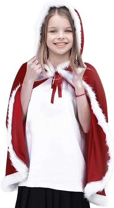 TiaoBug Capa Roja Navidad Disfraz con Capucha Niñas Caperucita ...
