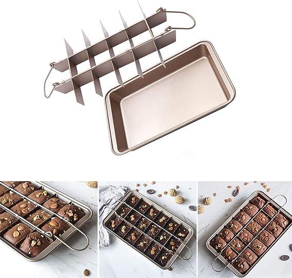 Forni Cucine con Divisorio per Torte afdg Teglia da Forno per Torte Brownie Tortiera Antiaderente,Tortiera Quadrata 12 x 8 x 2 Pollici Pasticcini Professionali