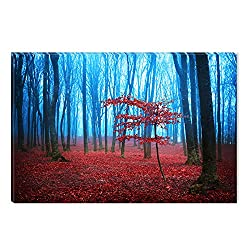 Startonight Canvas Wall Art Red Fog Forest Nature Trees Landscape, Dual View Surprise Artwork Modern Framed Ready to Hang Wall Art 100% Original Art Painting 31.5 x 47.2 inch