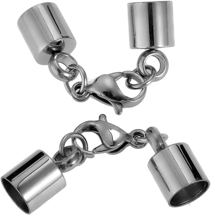 HooAMI Stainless Steel Necklace Bracelet End Caps /& Lobster Claw Clasp Silver Tone Fit 5mm Cord Qty=2sets