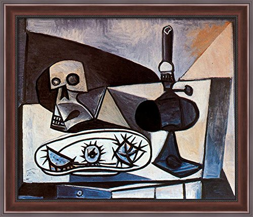 Skull, urchins and lamp on a table 34x28 Large Walnut Ornate Wood Framed Canvas Art by Pablo Picasso (Pablo Table Lamp)