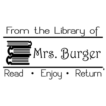 From The Library Of Book Teacher Stamp Self Inking Return Address Custom Name Wedding