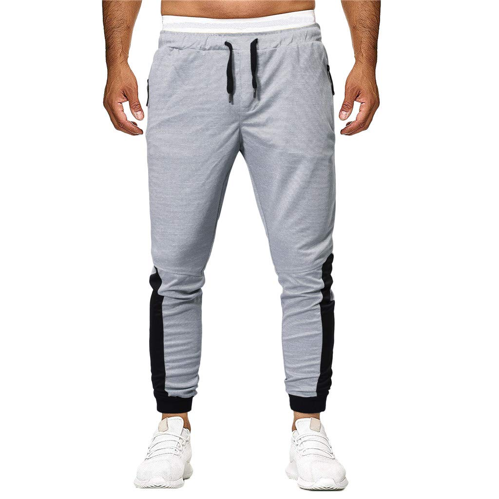 Sunyastor Fashion Men's Sport Jogger Pants Patchwork Loose Slim Fit Sweatpants Fitness Activewear Drawstring Pant Gray