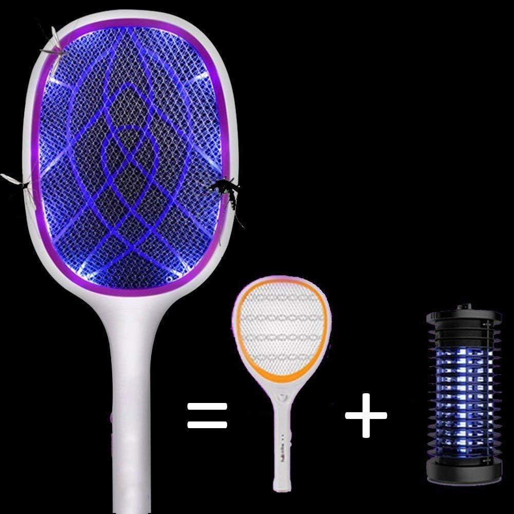 R/éseau Puissant de 3000V Tapette /à Moustiques /Électrique Tueur de Moustiques Rechargeable USB 2-en-1 Am/élior/é en 2020 avec Lumi/ère LED Maille de S/écurit/é /à 3 Couches pour la Maison /à