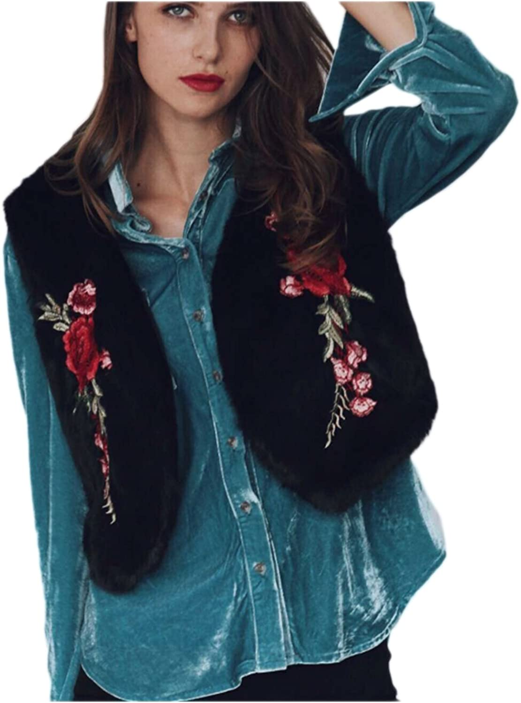 Women Stylish Embroided Patchwork Winter Vest Cardigan Coat Blouses