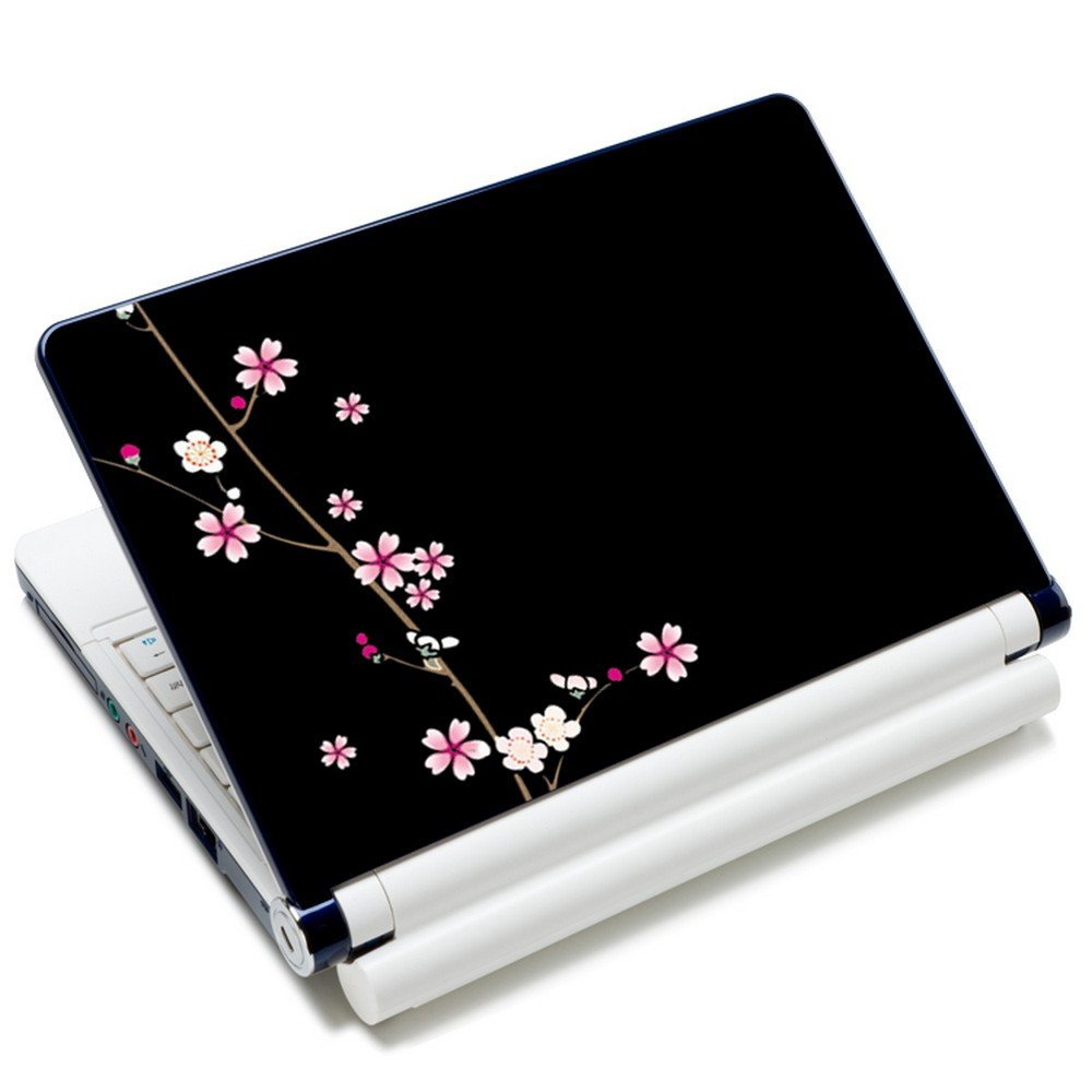 Amazon com meffort inc 15 15 6 inch laptop skin sticker cover art decal fits 13 3 14 15 16 notebook pc free 2 wrist pad plum blossoms design
