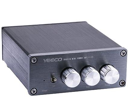 Amplificador TPA3116 2x50W,Yeeco DC 12 / 24V Doble Canal Receptor de Audio Amplificador con