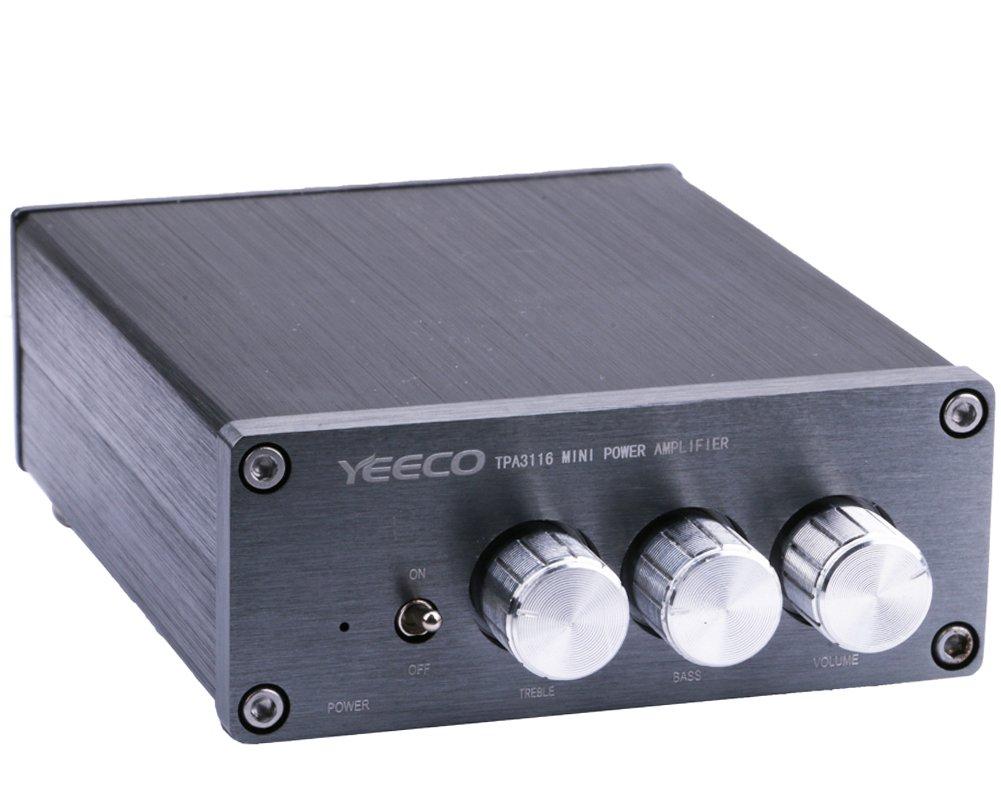 Yeeco Hifi Mini Digital 2.0 Audio Stereo Home Amplifier, 50W+50W DC 12/24V Car Stereo Dual Channel Audio Receiver Power Amp Ampli with Treble/Bass/ Volume Adjustment Knob