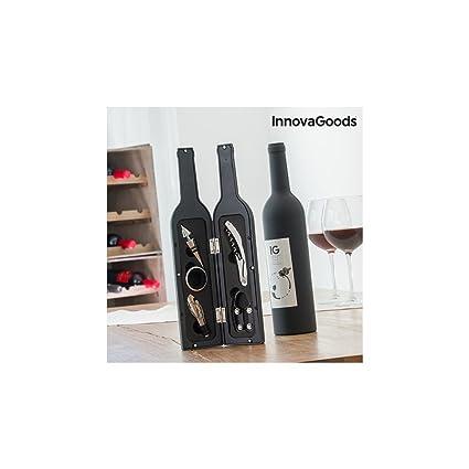 InnovaGoods Estuche de Vino Botella, Acero Inoxidable, Negro, 7x7x33 cm