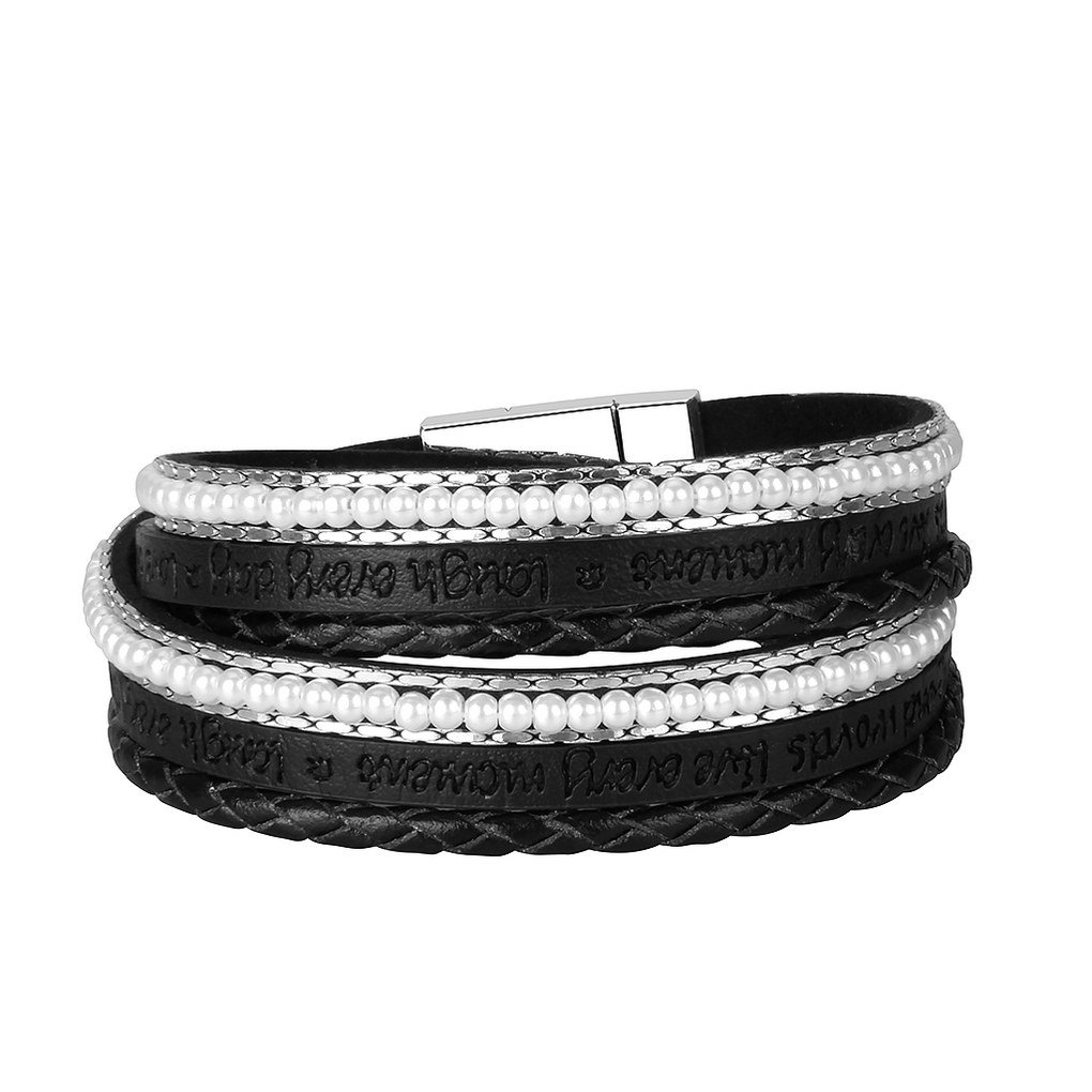 Bfiyi Leather Bracelet Pearl Bangle Handmade Jewelry Letter Engraving Magnetic Wristband for Women,girls