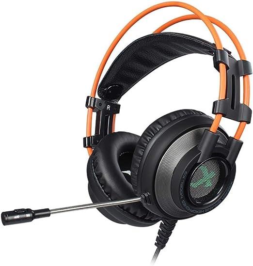 HWZDQLK Audífonos para Juegos - Cómodos Auriculares para Colocar sobre Las Orejas Estéreo con audífonos con cancelación de Ruido USB 7.1 con luz LED para Xbox One, PC, portátil: Amazon.es: Hogar