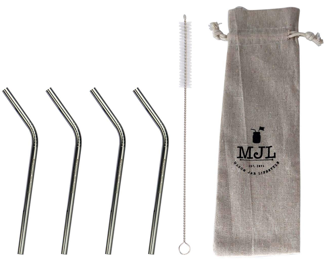 Short Thin Bent Stainless Steel Straws for Cocktail Glasses, Kids, Small Cups, or Half Pint Mason Jars, 4 Pack + Cleaning Brush by Mason Jar Lifestyle