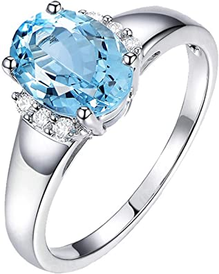 AMDXD Jewellery Silver Plated Engagement Rings for Women Shining Oval Cubic Zirconia Gold Bands