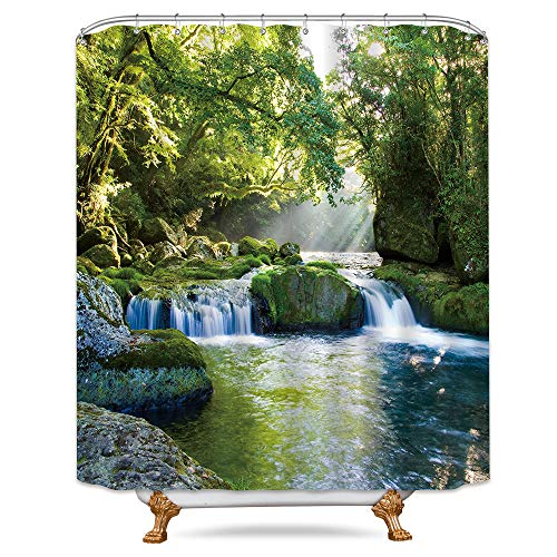 Riyidecor Forest Waterfall Shower Curtain Jungle Landscape Rainforest Green Spring Nature Tree Rock Seasonal Decor Bathroom Set Polyester Waterproof 72x72 Inch Plastic Hooks 12 Pack (Waterfall Shower Curtain)