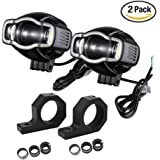 Motorcycle Driving Lights 20W DC9V-85V Universal Motorbike LED Front Spot Lights with USB Charger Auxiliary Fog Lamp for BMW Kawasaki Harley (Pack of 2)