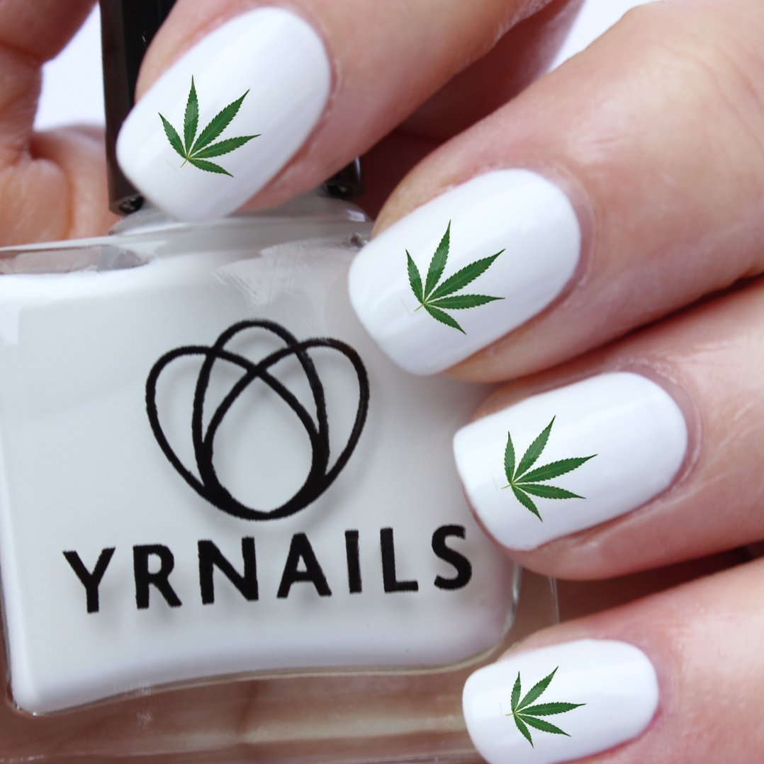 Green Cannabis Marijuana Weed Leaf Nail Decals by YRNails