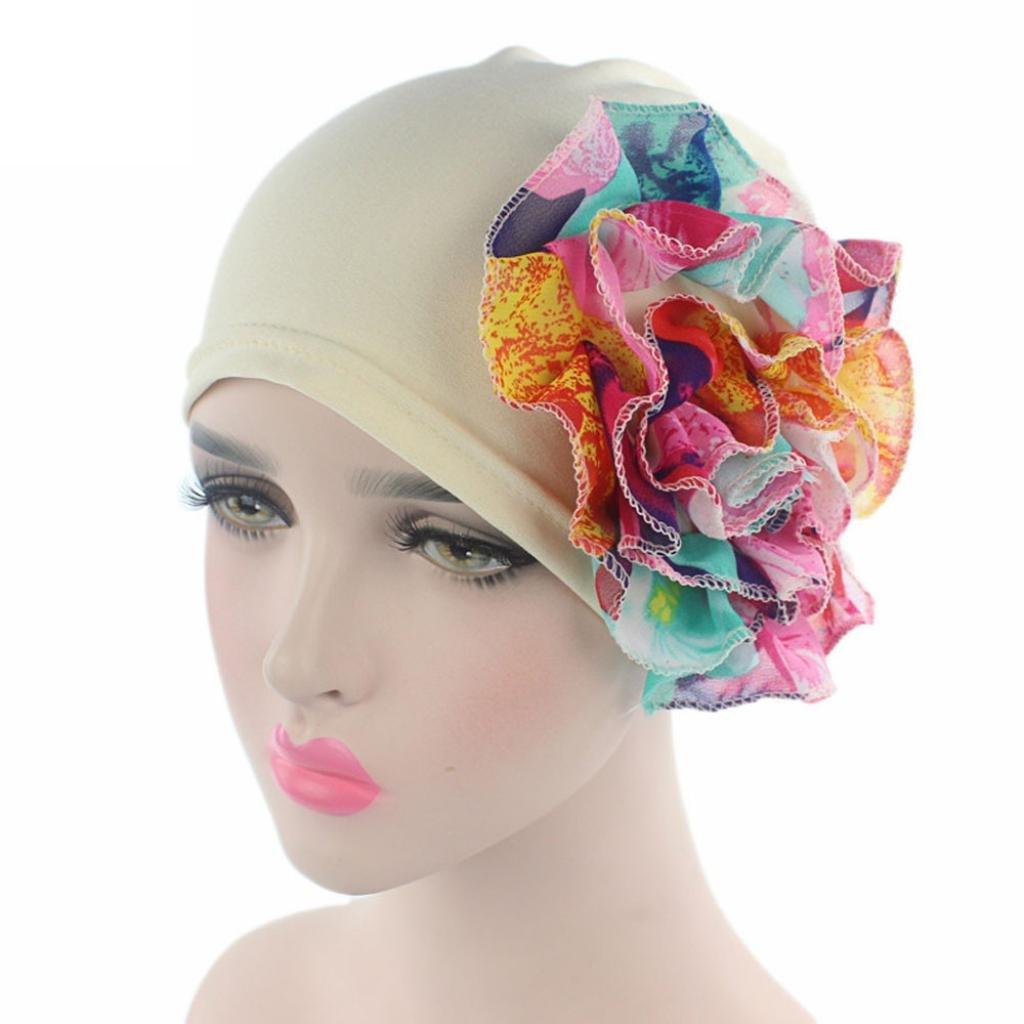 a2c66bc9ebc Beanie Chemo Cancer Hats for Women Iuhan Women Cancer Caps Chemo Hat Beanie  Flower Muslim Ruffle Scarf Turban Head Wrap Cap