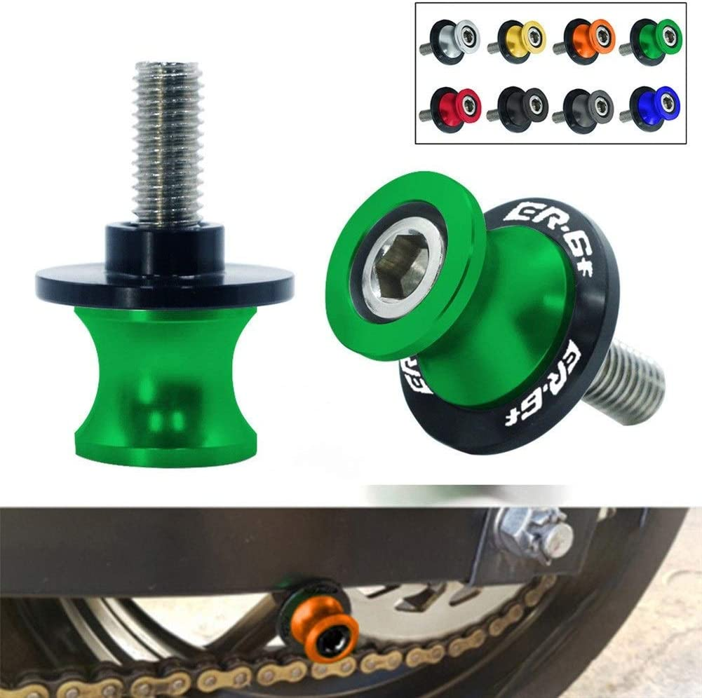 Color : Black Spools For Kawasaki ER6F 2006-2016 2PCS 10MM Motorcycle SwingArm Sliders Spools CNC Swing Arm Stand Screw Paddock Sliders