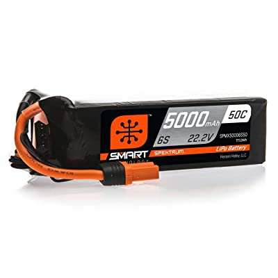 Spektrum Smart RC LiPo Battery Pack: 5000mAh 6S 22.2V 50C, IC5 Connectors (EC5 Compatible), SPMX50006S50: Toys & Games