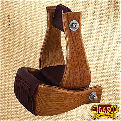 Hilason 4 Inch Oak Wood Horse Saddle Bell Stirrups Oak Stirrup
