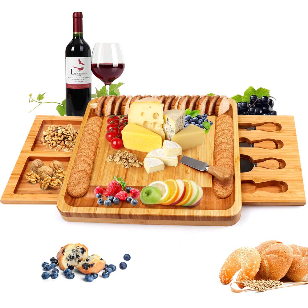 Great for Meats 30 X 8 Inch 30 Inch Long Charcuterie Board Includes Hole for Dips or to Hang on Wall Cheeses Appetizers At Parties Bamboo Home Life Extra Large Cheese Board Platter