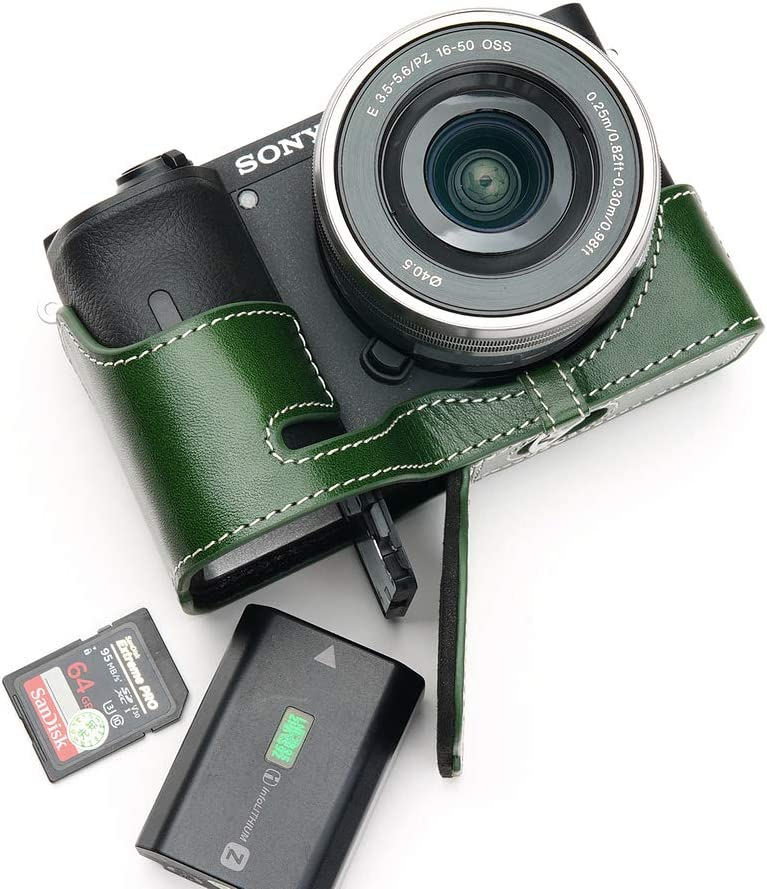 Handmade Genuine Real Leather Half Camera Case Bag Cover for Sony A6600 Green Color