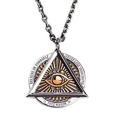 bb58c4995a138 Punk Titanium Steel Freemason Masonic Gold All Seeing Eye Pendant ...