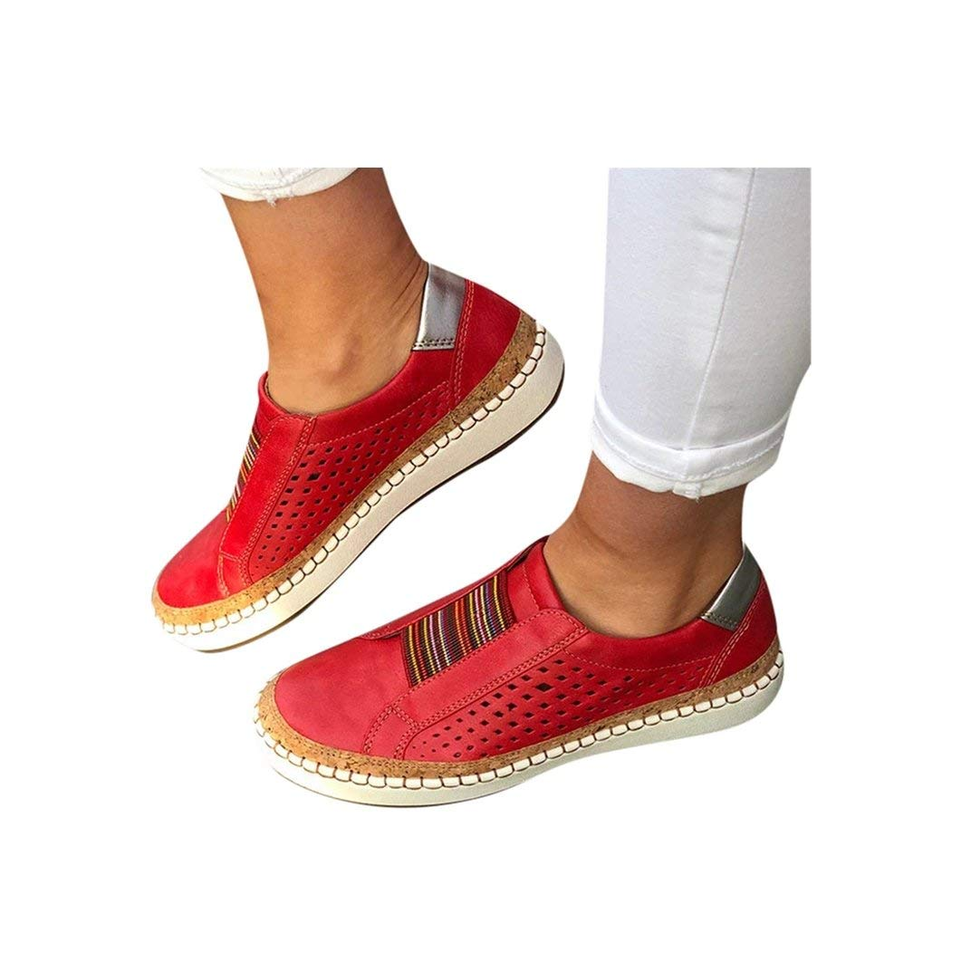 Women's Casual Shoes Slip On Outdoor Sneakers Fashion Comfy Flat Shoes Hollow-Out Round Toe Board Shoes by NIKAIRALEY Shoes