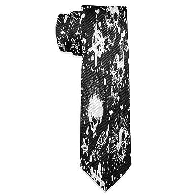 Wamika Corbata para hombre, diseño de calavera, color negro ...