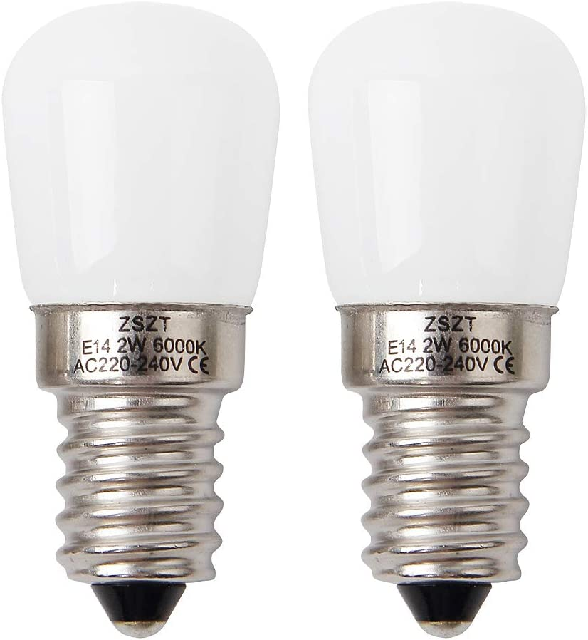 Bombilla nevera LED E14 2W ZSZT equivalente de bulbo del halógeno 15W, blanco frío 6000K bombillas minúsculoas, 2 unidades
