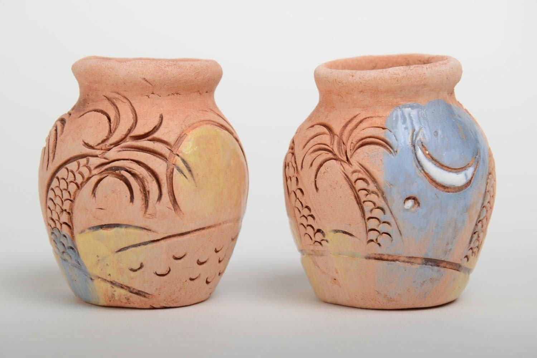 Mano Made Deko Cántaros Set 2 unidades de arcilla acuosa pequeño para Interieur ethnisch: Amazon.es: Hogar