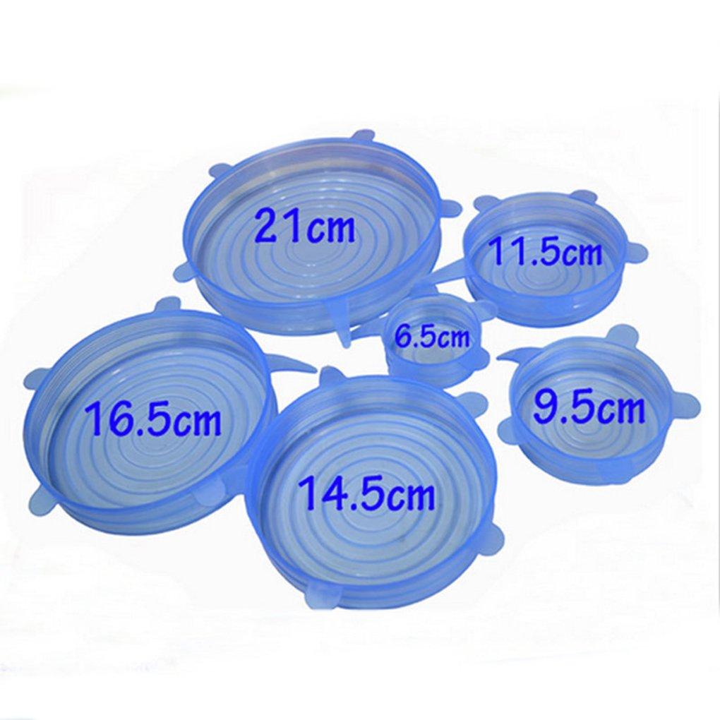 Set Reutilizable Fresco Mantener Wrap Silicona Extender succi/ón Tapa-Bowl Cacerola Cubrir los Alimentos Cocinar la Cacerola Tapas de derrames Azul Demino 6pcs