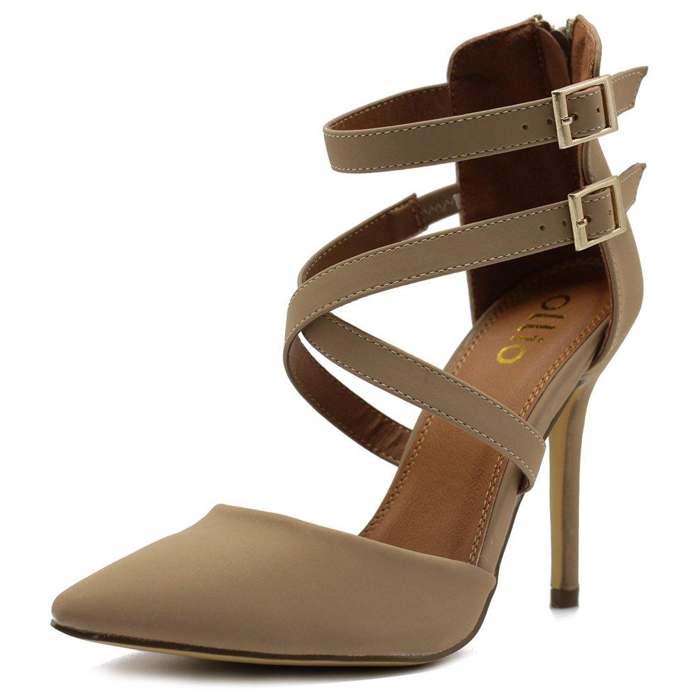Natural Ollio Women shoes Cross Strap Back Zipper Stiletto High Heel Faux Suede Pumps