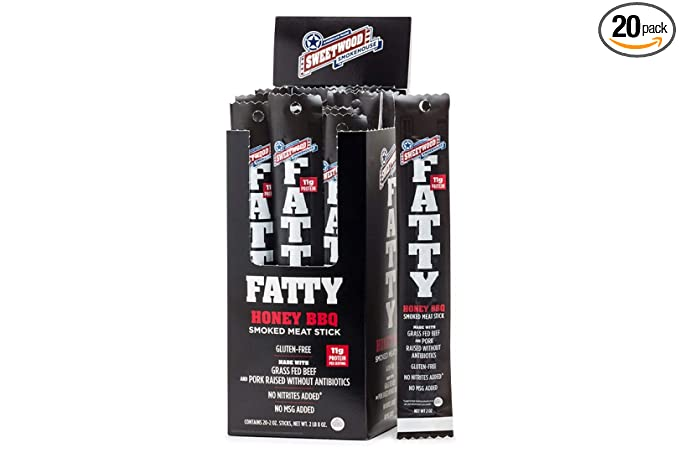 Sweetwood Smokehouse Fatty Meat Stick   Honey BBQ Flavor   20 Pack   2 oz Sticks   USA Grass Fed Beef, Antibiotic Free Pork   Paleo, Gluten Free, Slow Smoked Meat Snack   No Nitrites or Added MSG