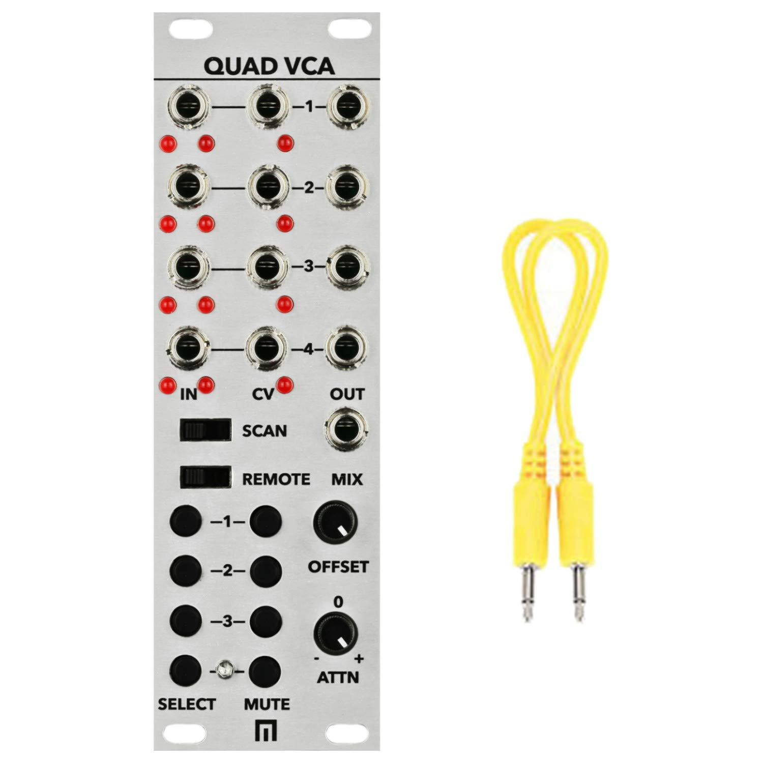 Malekko Quad VCA Eurorack Synth Module w/Geartree Cloth and Patch Cable