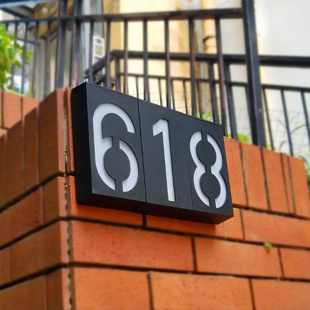 placa de matr/ícula de calle luz LED moderna para casa Medium Placa de luz solar para n/úmero de casa o direcci/ón de Doolland Number 2 impermeable