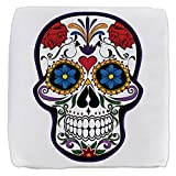 18 Inch 6-Sided Cube Ottoman Floral Sugar Skull Day of the Dead