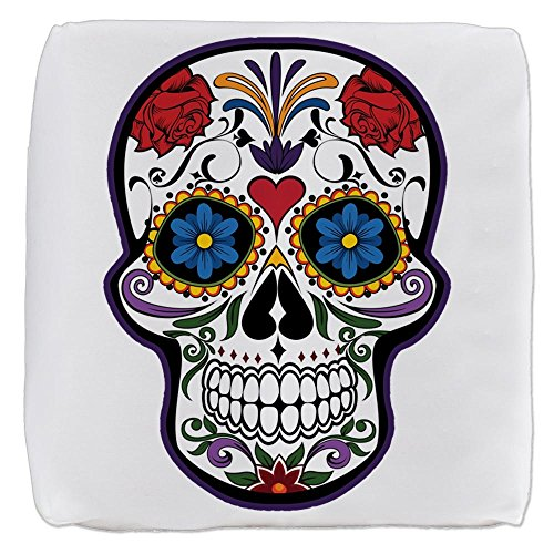 Truly Teague 13 Inch 6-Sided Cube Ottoman Floral Sugar Skull Day of the Dead
