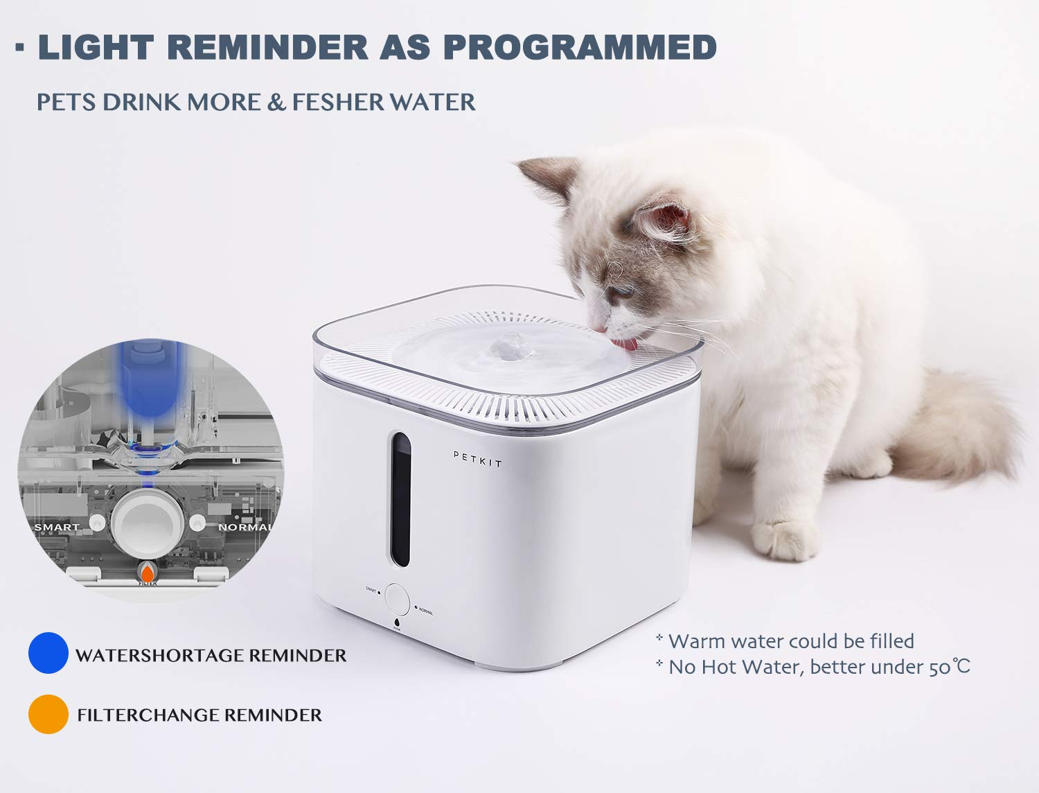 PETKIT EVERSWEET Cat Water Fountain 2.0, 2L Automatic Pet Water Fountain for Dog and Cat Super Quiet with Water-Shortage Alert and Filter-Change Reminder, Auto Power-Off Pet Water Dispenser by PETKIT (Image #5)