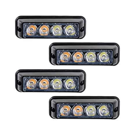 Auto Parts and Vehicles 4X White/Amber 4 LED Emergency ...
