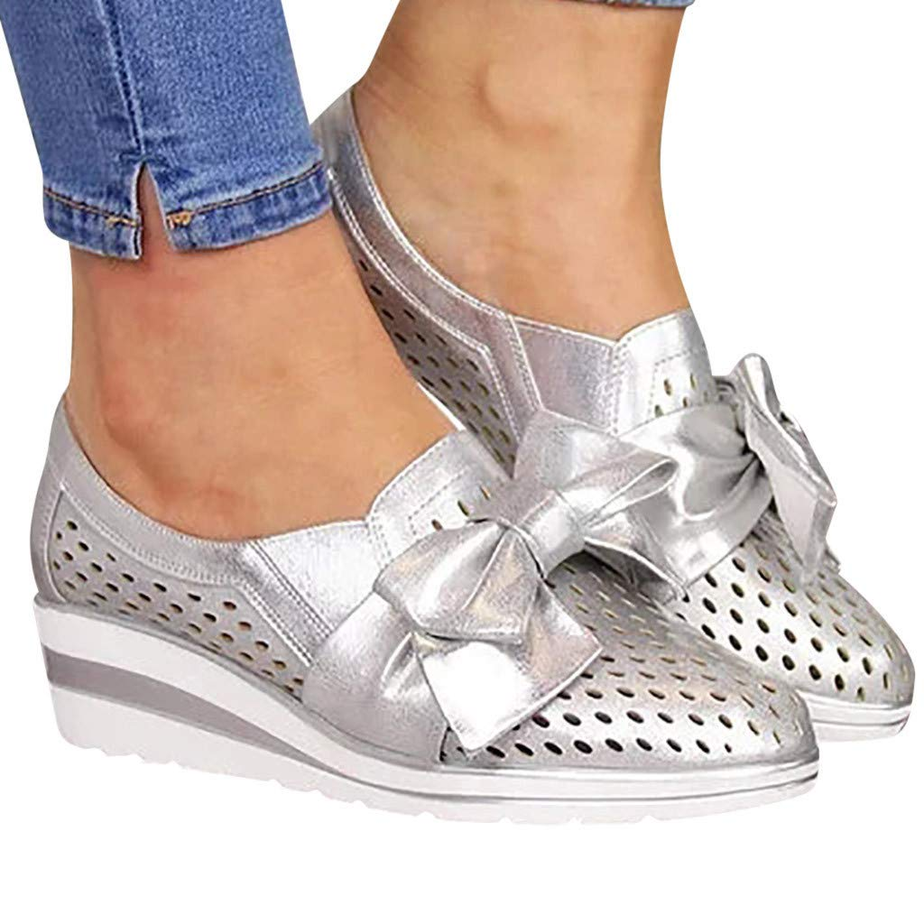 Women's Ankle Boots Slip On Loafer Pointed Toe Wedge Walking Dress Casual Beach Shoes Cutout Booties Silver