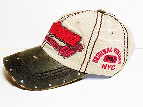 1dc07f742bf60 Americana Vintage Washed Out Look Baseball Cap w Crystals on Bill Hat  Headwear Patriotic (Khaki Brown) at Amazon Women s Clothing store