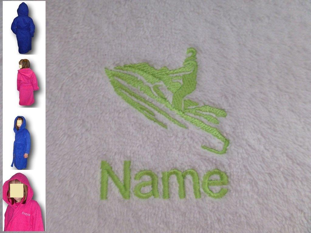 Kinder Kapuzen Bademantel mit einem Jet Ski Logo und Namen Ihrer Wahl, Alter 8in rosa.