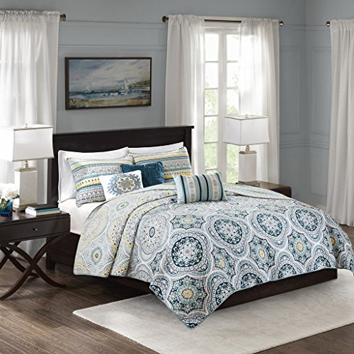 Mercia 6 Piece Reversible Cotton Sateen Coverlet Set Navy Full/Queen by Madison Park