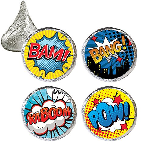 Comic Book Superhero Party Favor Stickers, 324 Count -