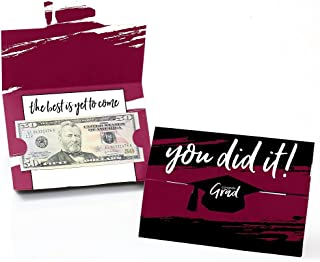 product image for Big Dot of Happiness Maroon Grad - Best is Yet to Come - Burgundy Graduation Party Money and Gift Card Holders - Set of 8