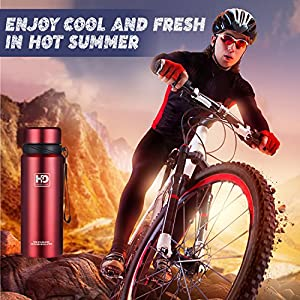 Water Bottle Insulated Stainless Steel Wide Mouth Vacuum Thermos, Built-in Filter, with Leak Proof Cap and Strap, Idea For Drinking At Home, Office, Gym, Cycling, Traveling, Camping (New Red, 37 oz)