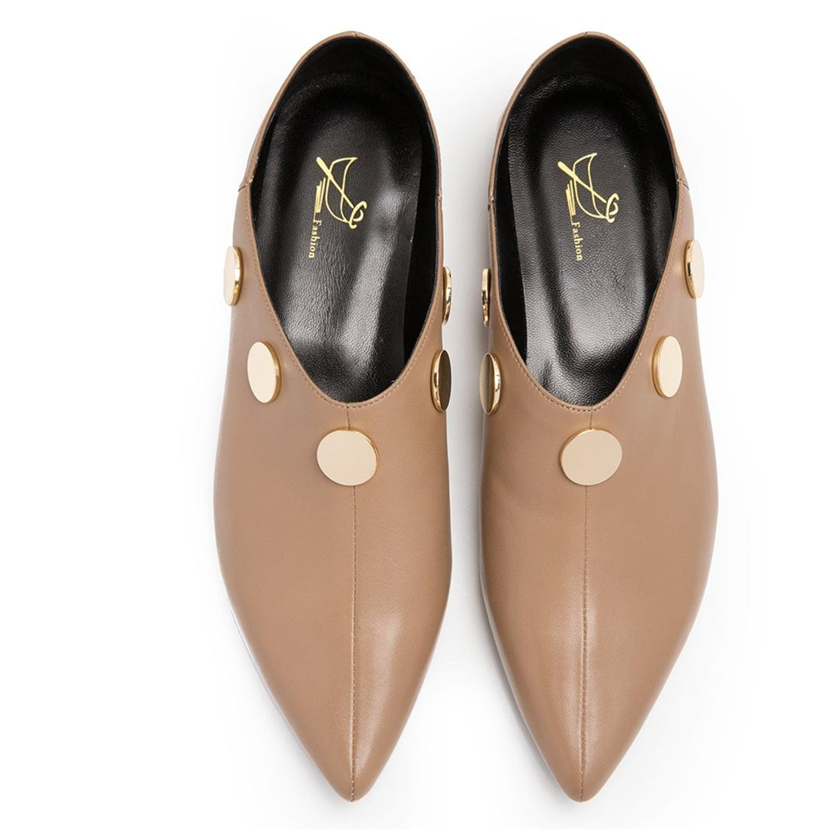 NVXIE NVXIE NVXIE Damen Neue Mode Einzel Schuhe Lazy Halbe Hausschuhe Zwei Tragen Rough Mid Heel Spitz Zeh Echt Leder Metall Button Herbst Winter Work Party 1-EUR37UK455 ce25a3